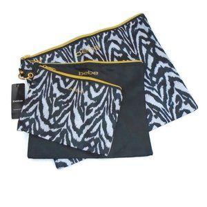 Bebe Bags NWT 3 Zipper Bags on Ring Animal Print